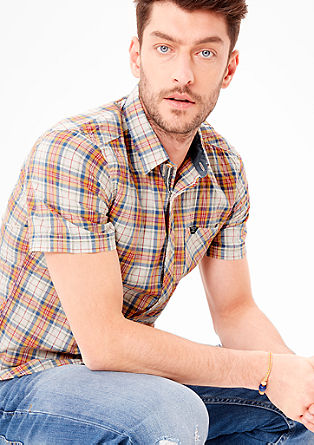 Slim: short sleeve check shirt from s.Oliver