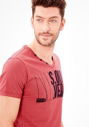 Slim: Printshirt mit V-Neck