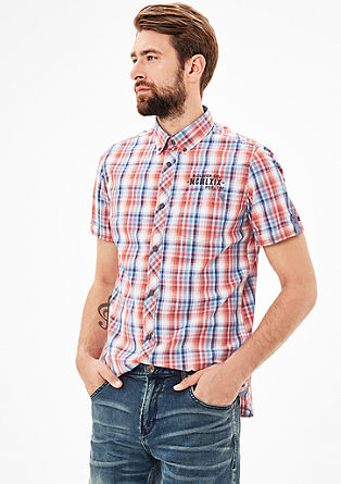 Slim: check shirt with embroidery from s.Oliver