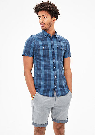 Slim: checked shirt with linen from s.Oliver