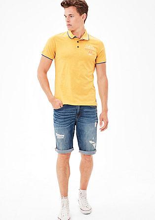 Flammgarn-Poloshirt mit Print