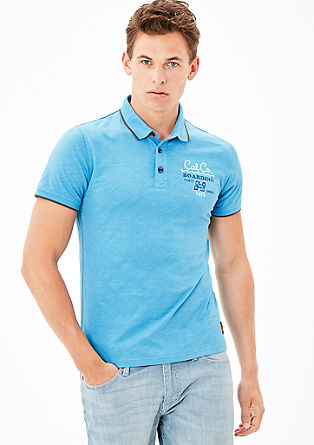 Poloshirt met print, van slubgaren