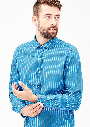 Slim: Gestreiftes Baumwollhemd