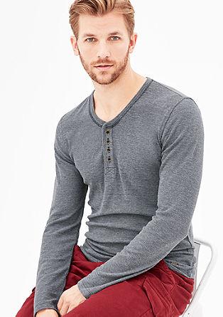 Meliertes Henley-Shirt