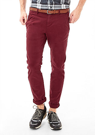 Sneck slim: coloured chino met riem
