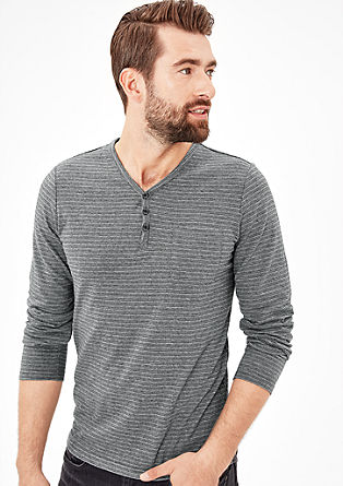 Henley top with a woven texture from s.Oliver