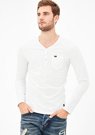 Schmales Henleyshirt in Pigment Dye