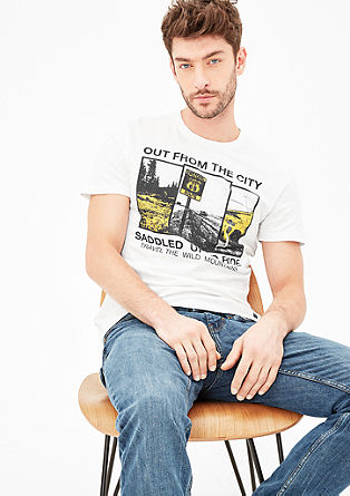 Slim: T-Shirt mit City-Print
