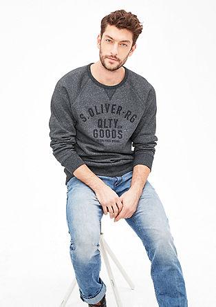 Melierter Sweater mit Logo-Stitching