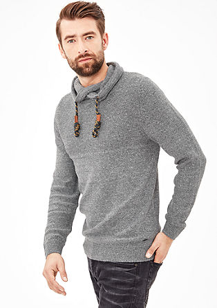 Knit jumper with a shawl collar from s.Oliver