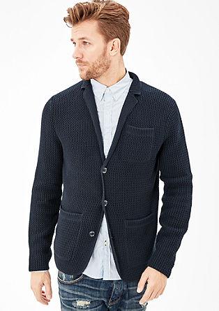 Pletena jakna s teksturo in ovratnikom