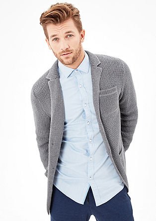 Textured cardigan with a collar from s.Oliver