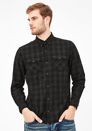 Slim: Kariertes Button-Down-Hemd