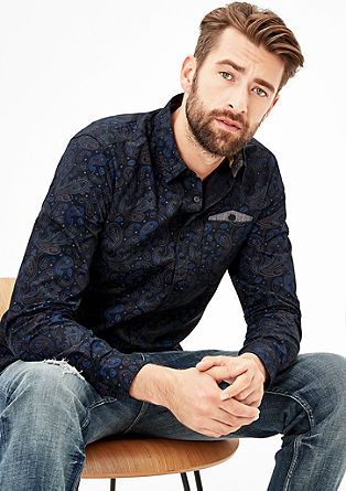 Slim: patterned shirt with a chest pocket from s.Oliver