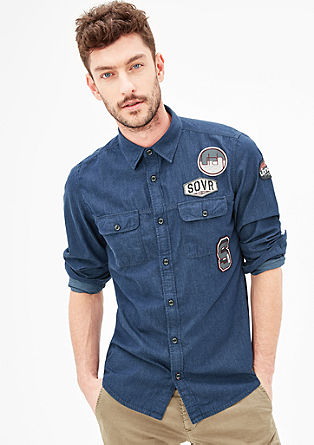 Slim: Jeanshemd mit Patches