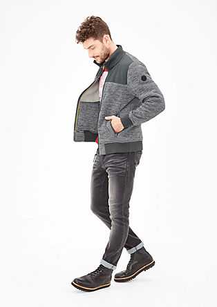 Sweatshirt jacket with a melange finish from s.Oliver
