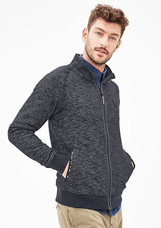 Melange sweatshirt jacket with stand-up collar from s.Oliver