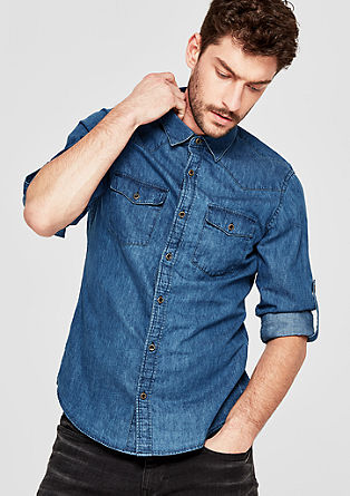 Slim: Twill shirt with flap breast pockets from s.Oliver