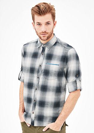Slim: Baumwollhemd mit Karomuster