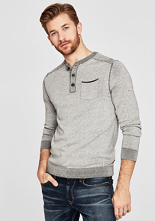 Henley-Pullover in Pigment Dye
