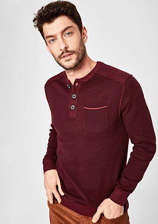 Henley-Pullover in Pigment Dye