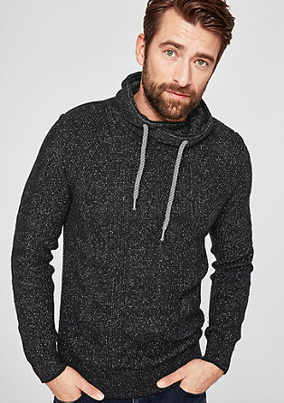 Knit jumper with a large collar from s.Oliver