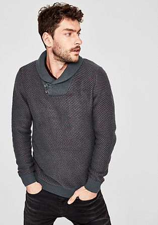 Knit jumper with shawl collar from s.Oliver