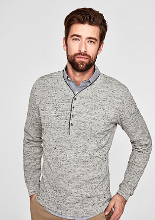 Henley-Shirt in meliertem Design