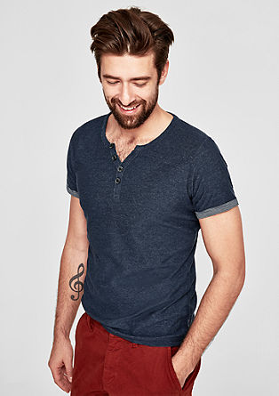 Slim: Henley mit Inside-Out-Effekt