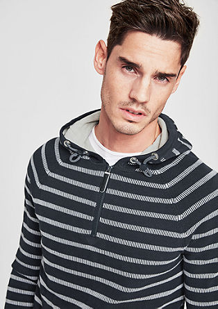 Knit hoodie with a striped pattern from s.Oliver
