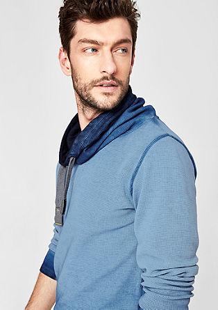 Slim: piqué shirt met sjaalkraag