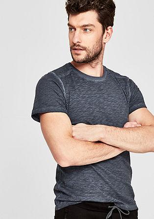 Slim: Slub-Shirt in Pigment Dye-Optik