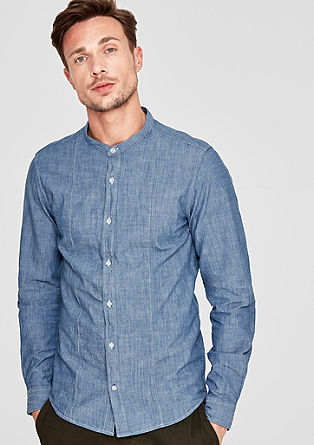 Slim: Hemd in Chambray-Optik