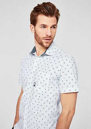 Slim: Gemustertes Kurzarmhemd