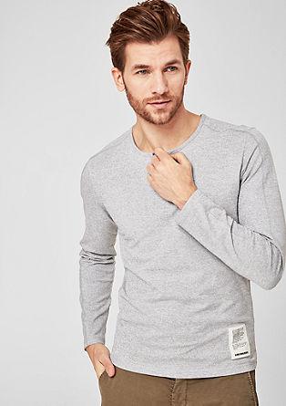 Slim: gemêleerd Henley-shirt