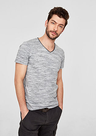 Slim: melange V-neck T-shirt from s.Oliver