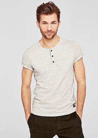 Slim: t-shirt chiné à col tunisien de s.Oliver