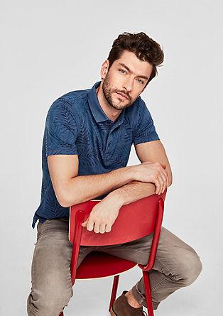 Slim: Poloshirt mit Palmen-Print
