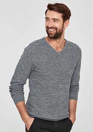 Mouline-Pullover mit V-Neck