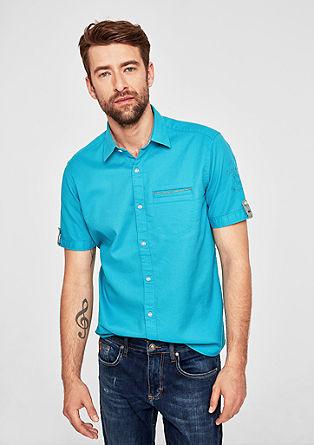 Regular: overhemd met korte mouwen en structuur