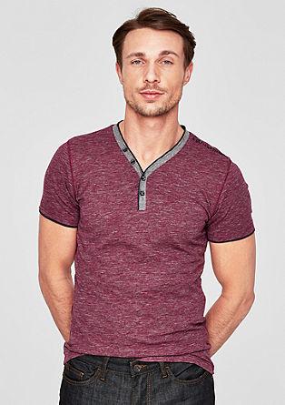 Slim: gemêleerd henley shirt
