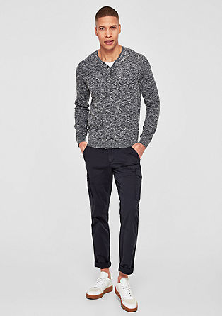 Henley-Pullover mit Layering
