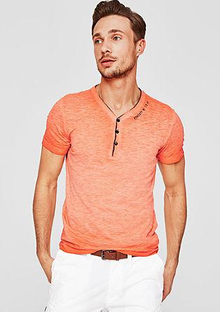 Slim: henley shirt met garment wash