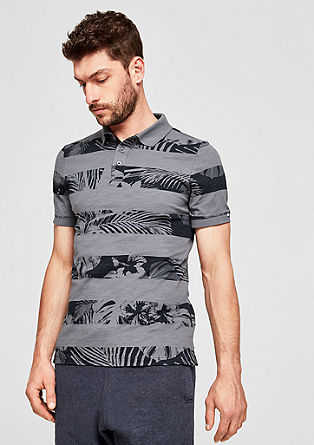 Slim: Polo shirt with a print pattern from s.Oliver