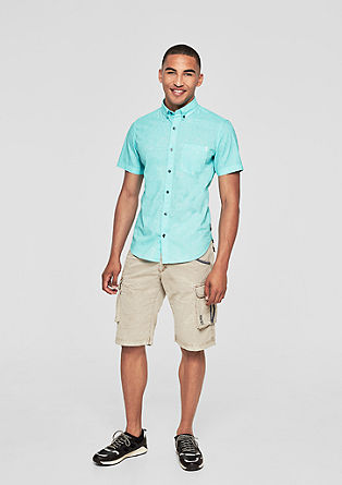 Slim:Meliertes Kurzarmhemd