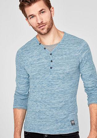 Slim: tričko s dlouhým rukávem a strukturou žíhané příze