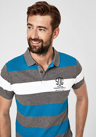 Slim: polo met blokstrepen