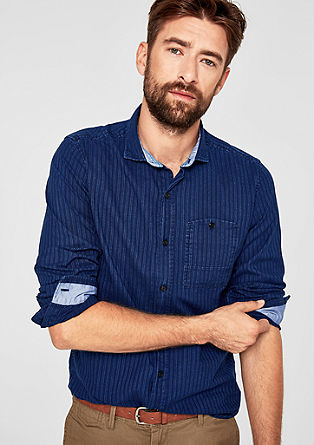 Slim: overhemd met structuurstrepen