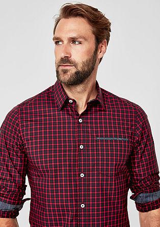 Slim: overhemd met ruitmotief