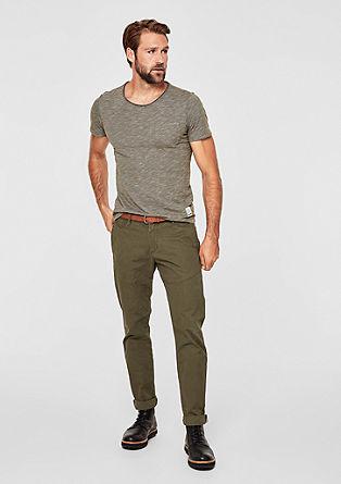 Slim: Melange-Shirt mit Streifen